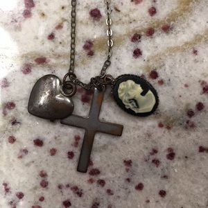 Jewelry - Forever 21 Cross, Heart, Victorian Bust Necklace